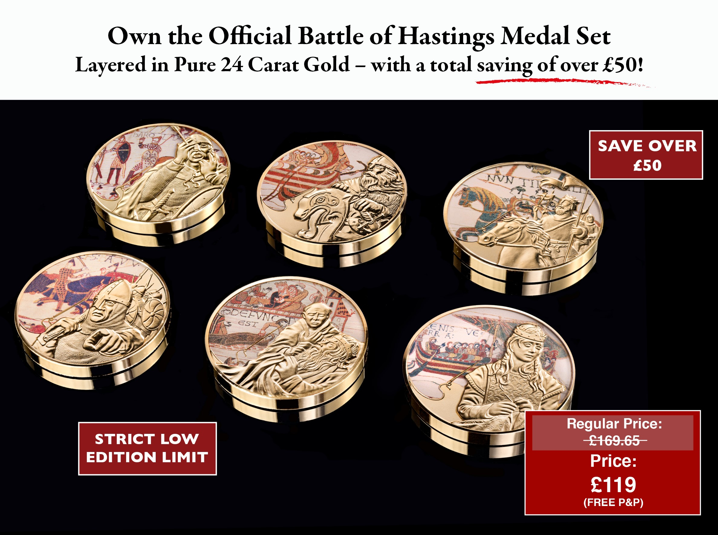 Your Invitation to Own the Complete Battle of Hastings Medal Set at the very special price of just £119.00