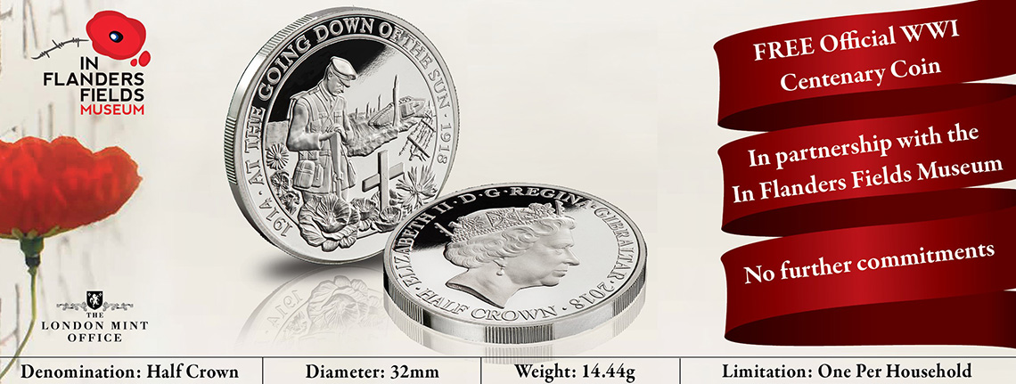"FREE Official In Flanders Fields Museum ""At the going down of the sun"" Coin"