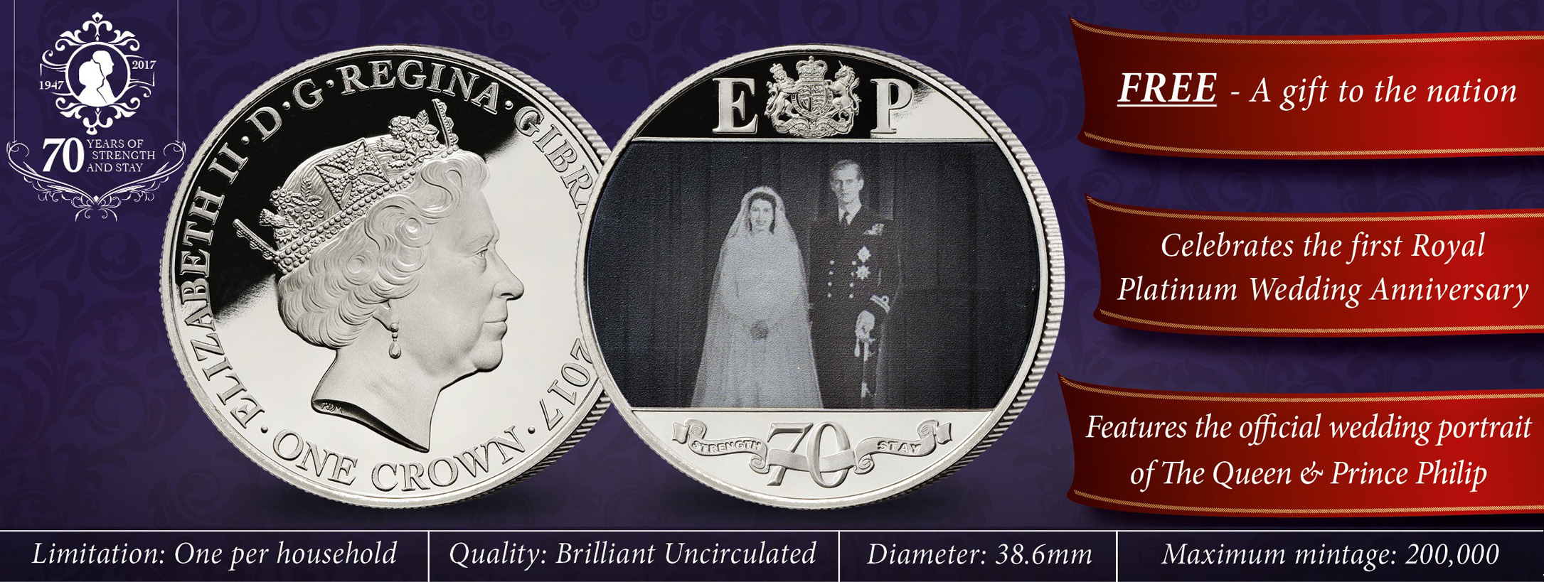 The Royal Platinum Wedding Anniversary Photographic Coin