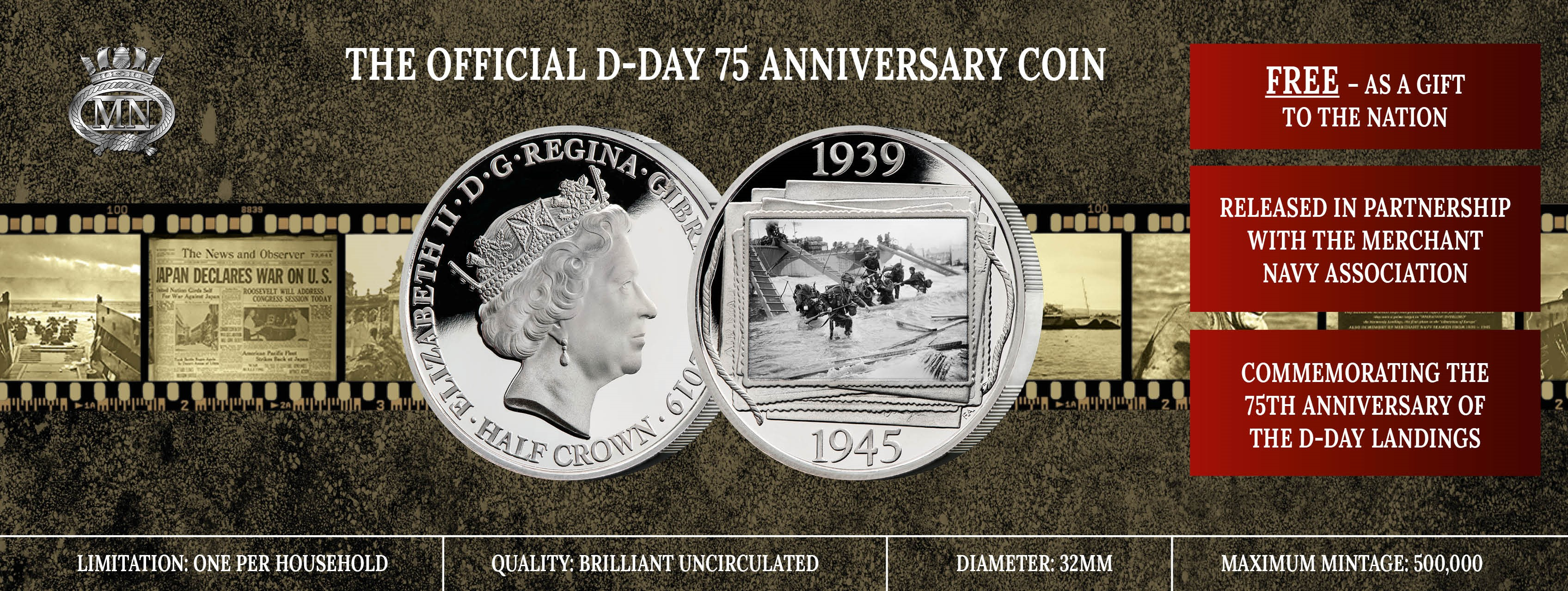 FREE Official Merchant Navy Association D-Day 75th Anniversary Coin