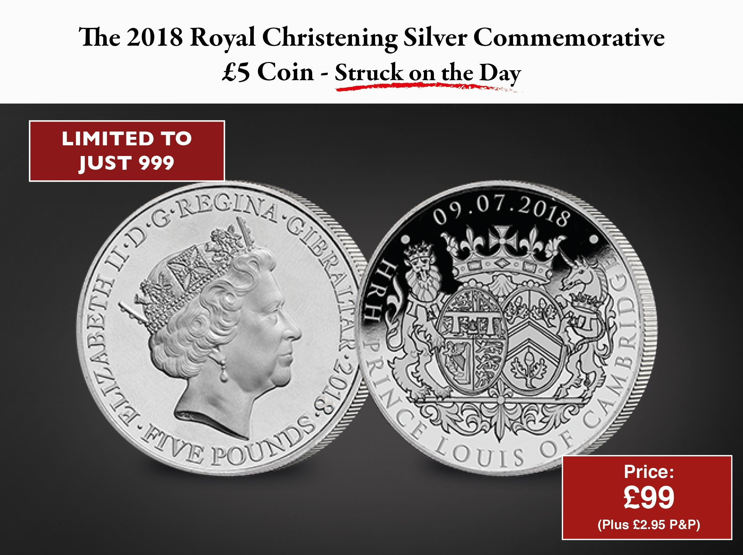 The Christening of HRH Prince Louis of Cambridge £5 Coin