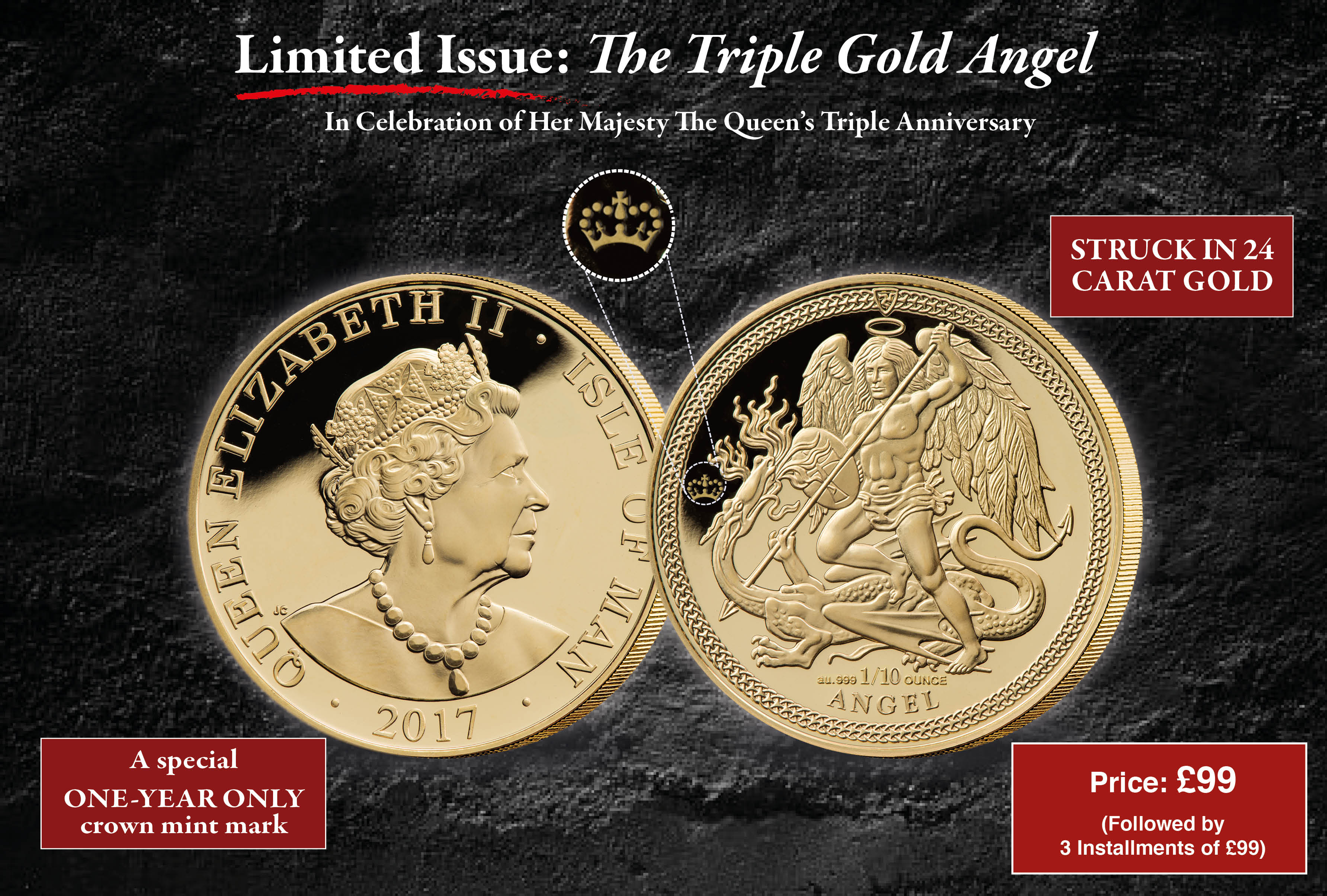 2017 Isle of Man 1/10oz Gold Angel