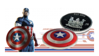 Captain America Coin Obverse and Reverse Captain America's 75th Anniversary Shield Coin