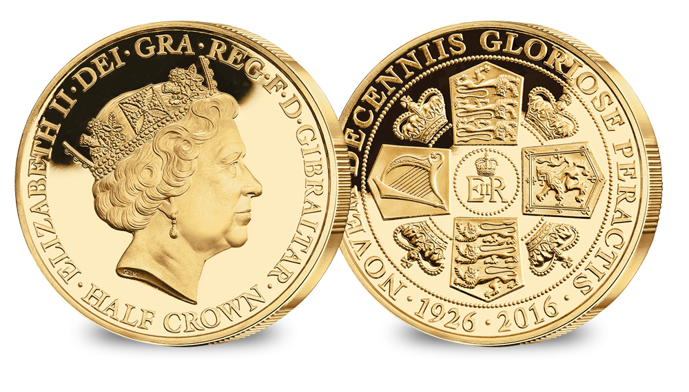 Her Majesty's 90th Birthday Portrait Gold layered Half Crown