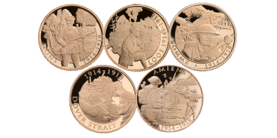 Armistice & Remembrance 100 5 Coin Full Sovereign Set