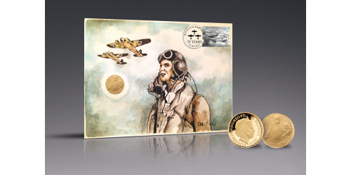 Battle of Britain Handpainted PNC with Churchill Gold Coin
