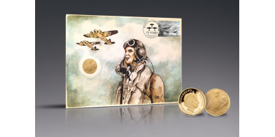 Battle of Britain Hand-painted PNC with Churchill Gold Coin