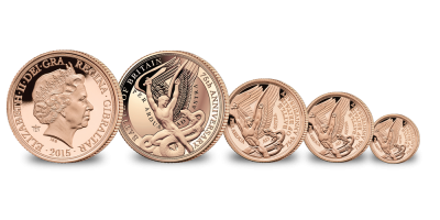 Battle of Britain 4 Sovereign Set   - the ¼, ½, full & double sovereigns