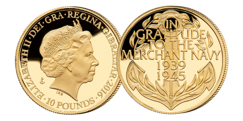 Official limited edition gold coin from the Merchant Navy
