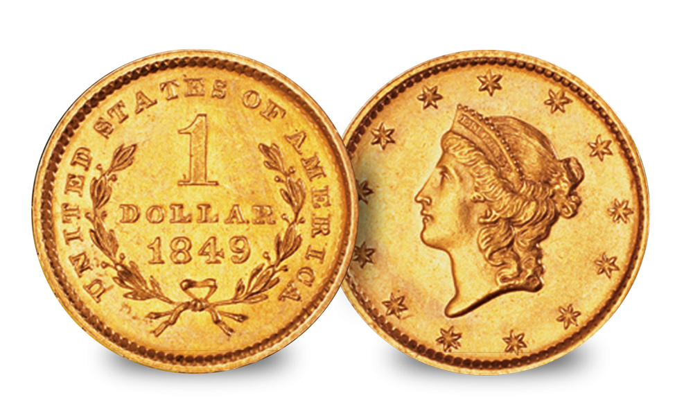 California Gold Rush $1&$2.50 Liberty head 1849