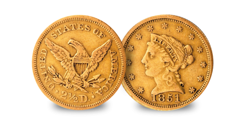 California Gold Rush $1&$2.50  Liberty Head 1851
