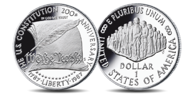 The United States Constitution 1987 US Silver Proof Dollar