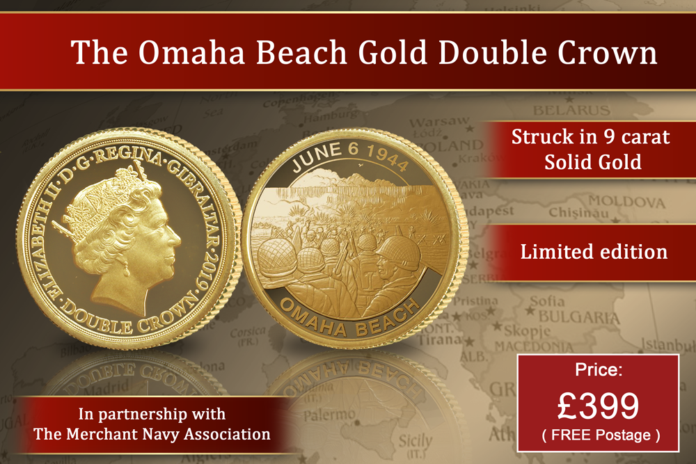 D-Day 75 The Beaches - Omaha Beach Gold Double Crown