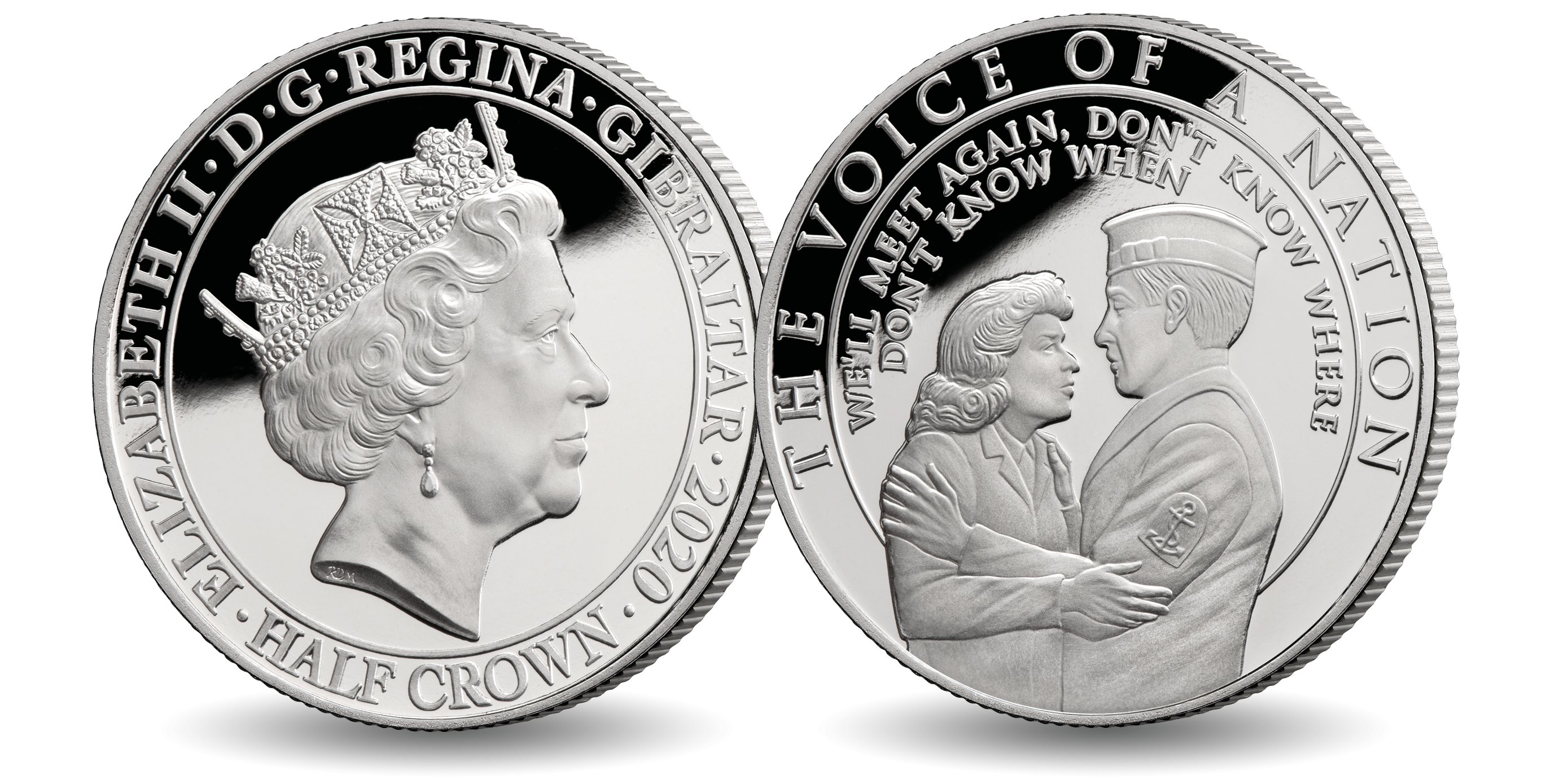 Coin features Dame Vera Lynn embracing a solider surrounded by the famous words from her well known song 'We'll meet again don't know where, don't know when