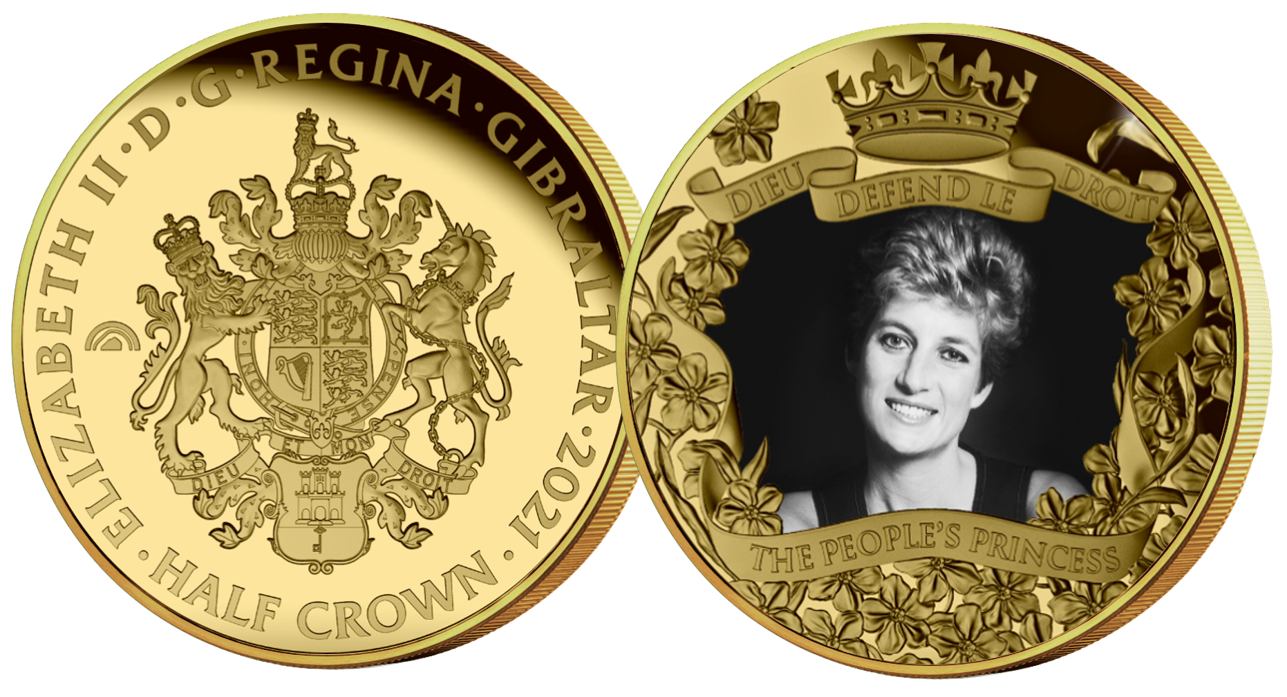 The coin features a beautiful and timeless photograph of Diana, Princess of Wales, and is elegantly framed by a shower of forget-me-nots – Diana's favourite flowers.