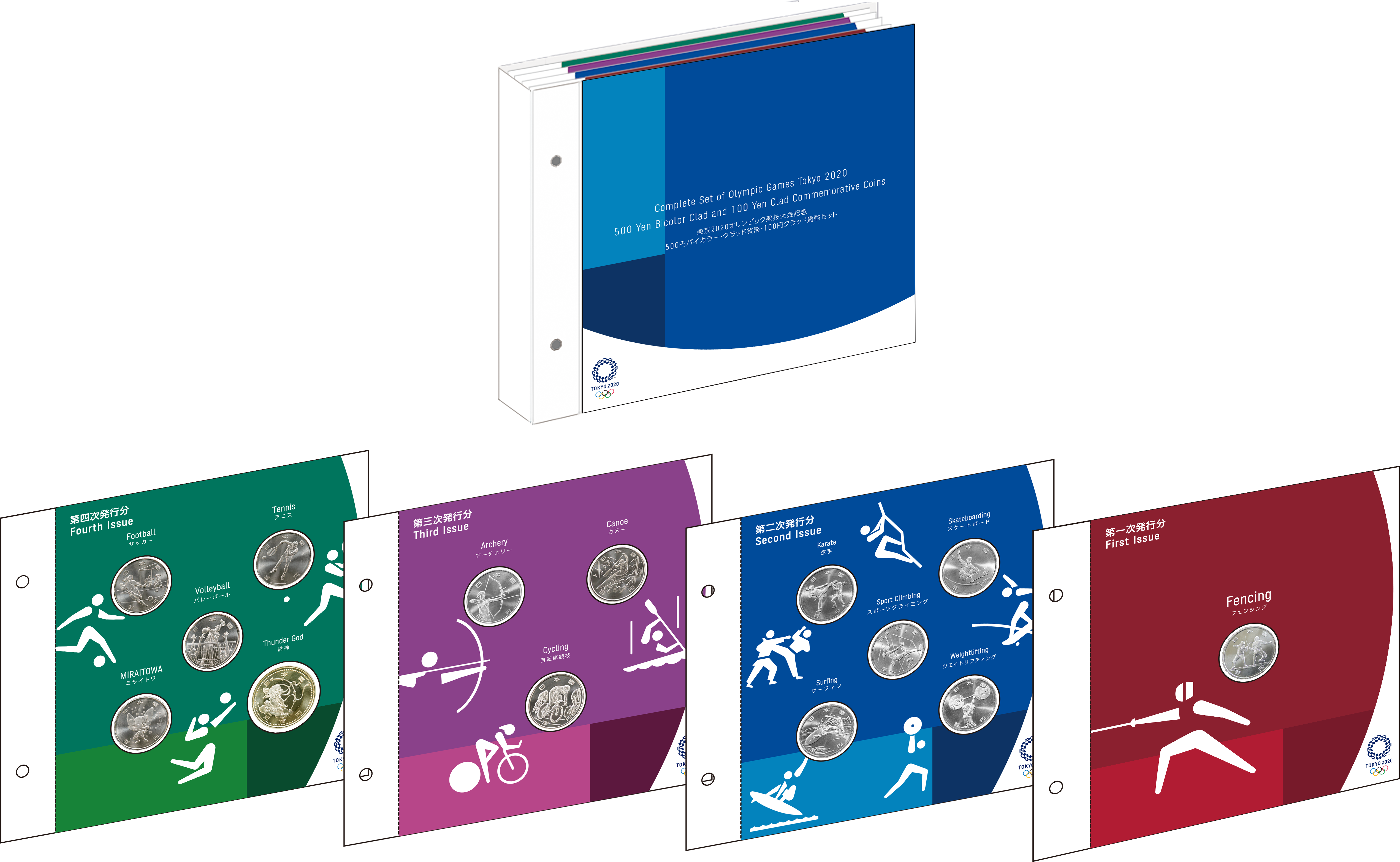 All of the official Japan Mint Tokyo Olympic coins in one limited edition set!