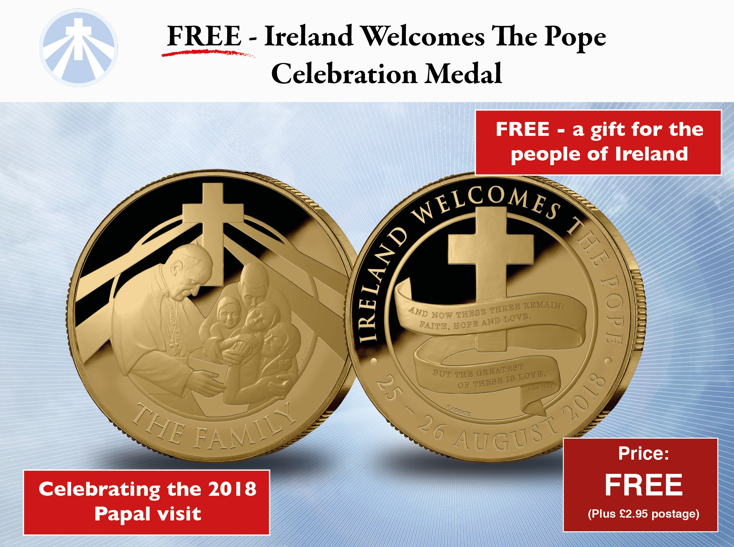 Ireland Welcomes the Pope 2018 Celebration Medal