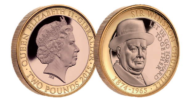 Churchill is featured with 'Let us go forward together' quote layer in 18 carat rose gold, accented in pure 24-carat Gold