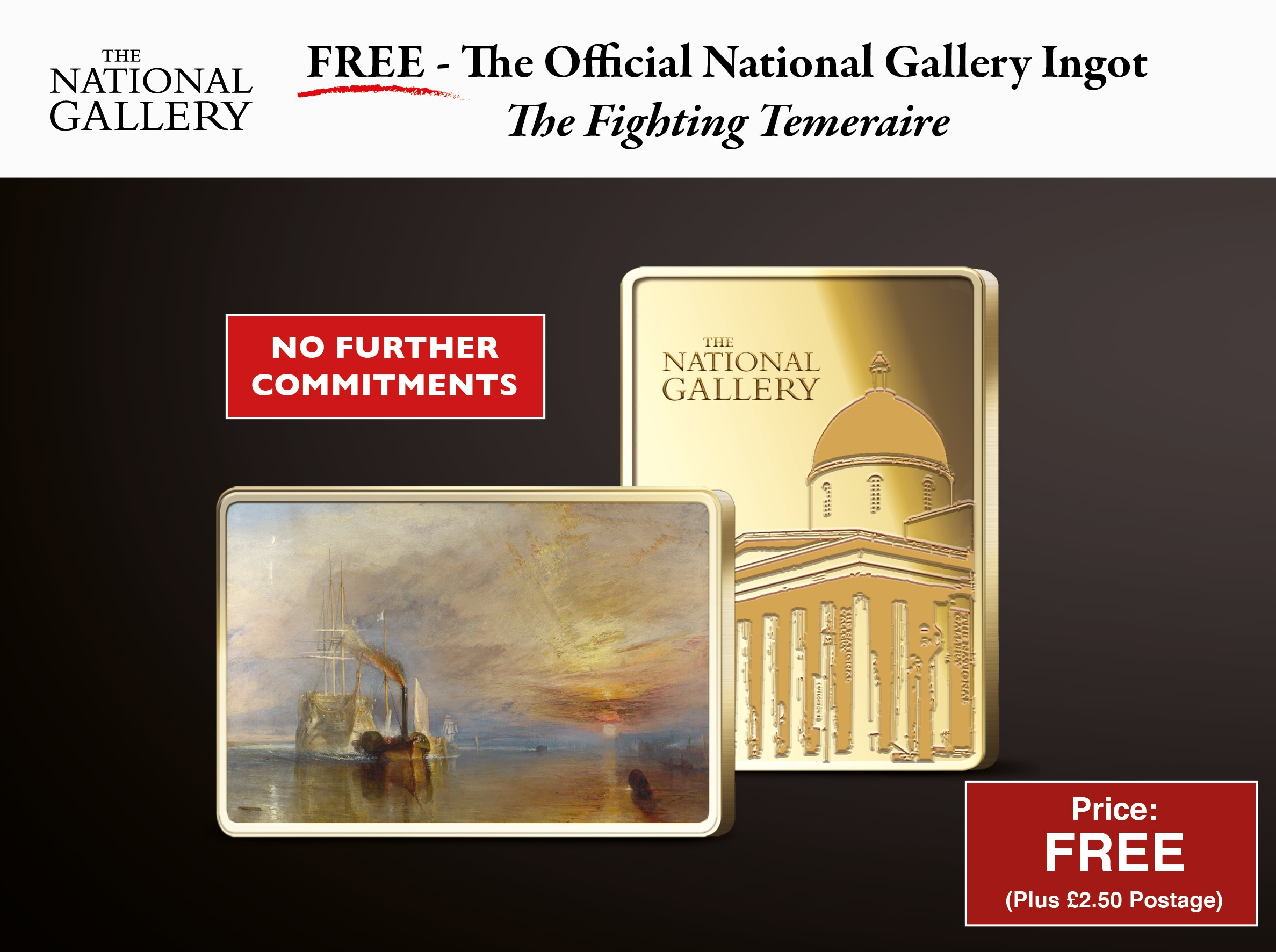 "Own the Official National Gallery ""The Fighting Temeraire"" Ingot 14.95"