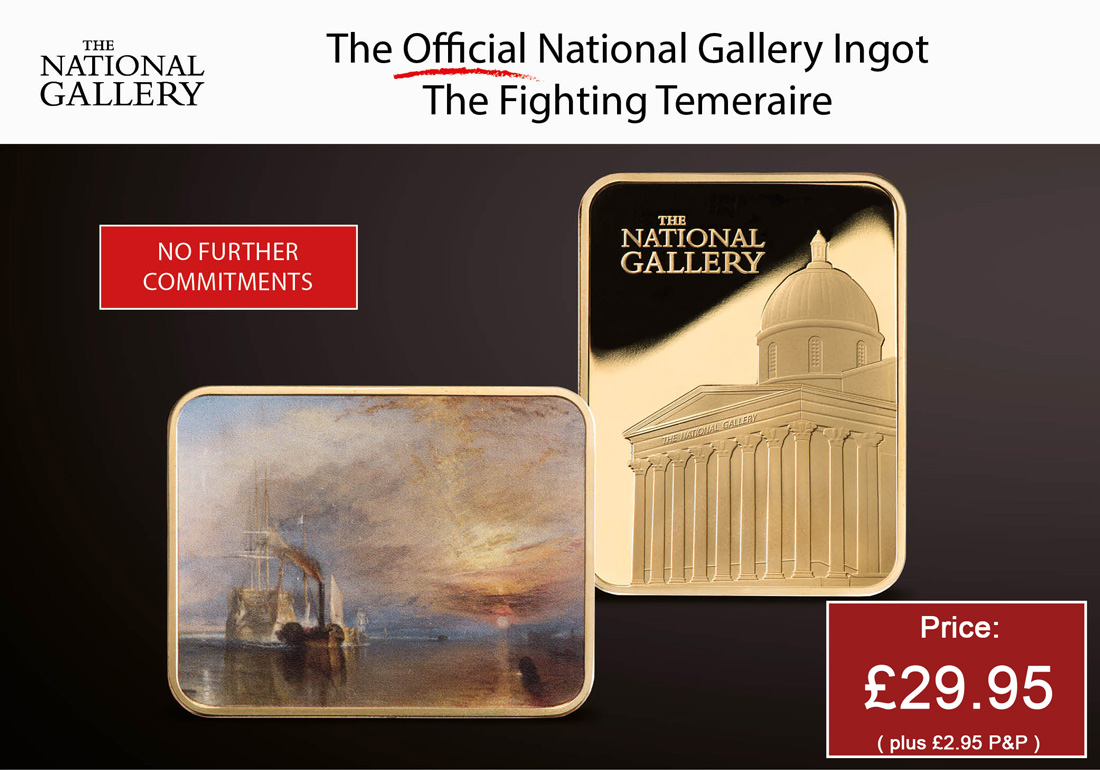 """Own the Official National Gallery """"The Fighting Temeraire"""" Gold Ingot"""