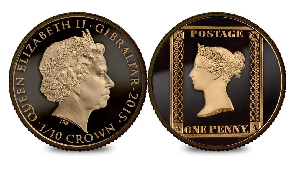 1/10oz Penny Black Gold Coin 2 The Penny Black and  1⁄10 oz Gold Coin Set