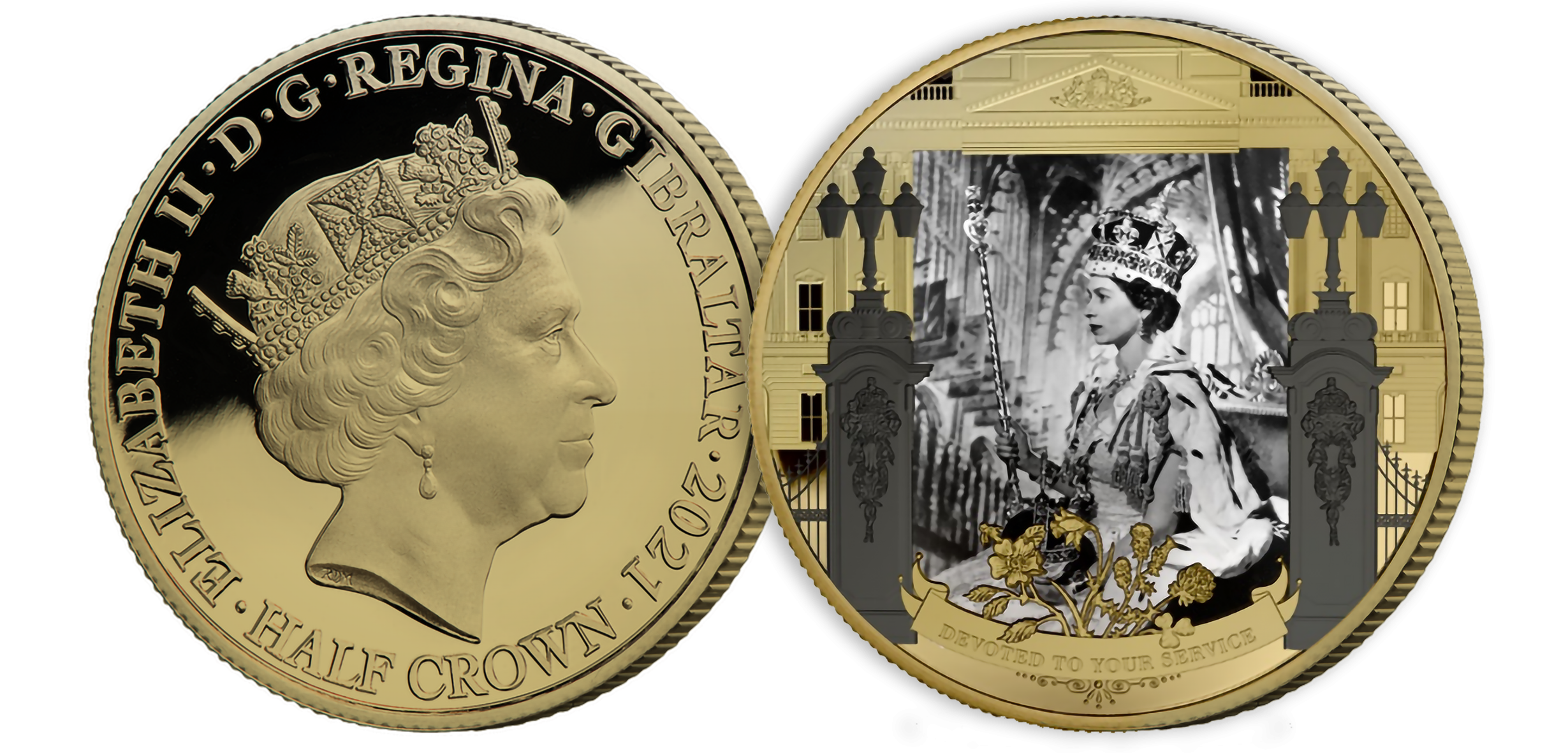 The photograph featured on the coin was taken on June 2nd, 1953, marking the formal  beginning of what would become the longest reign in British history. Coin layered in fairmined  gold.