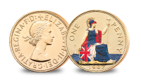 Britannia, helmeted and holding a trident, seated on a shield, with a lighthouse on the seas in the background
