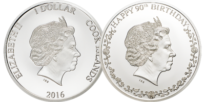 Double Headed Queens 90th Birthday Silver Coin