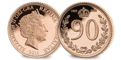 The Queen Elizabeth II 90th Birthday Gold ¼ Sovereign