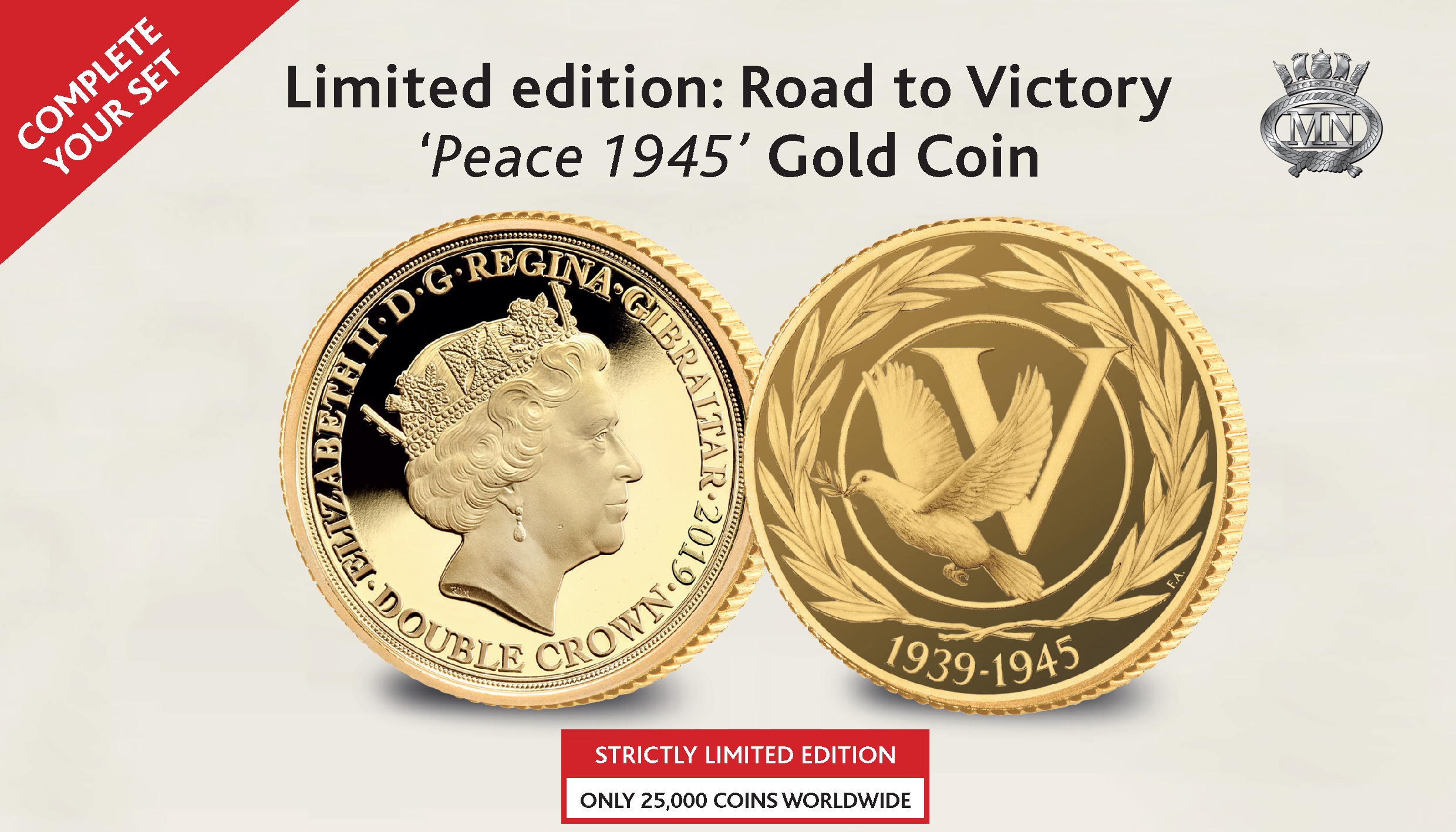 Official D-Day 75 The Road to Victory Peace 1945 Gold Double Crown