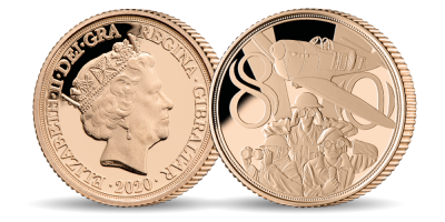 Official Royal Air Force 'Never was so much owed' Brilliant Uncirculated Quarter Sovereign