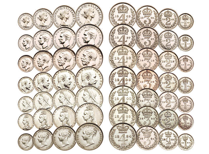 The Royal Maundy Collection - seven sets of silver coins in one collection
