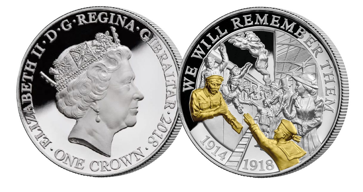 Coin features an image of a soldier bidding farewell as he heads off the war