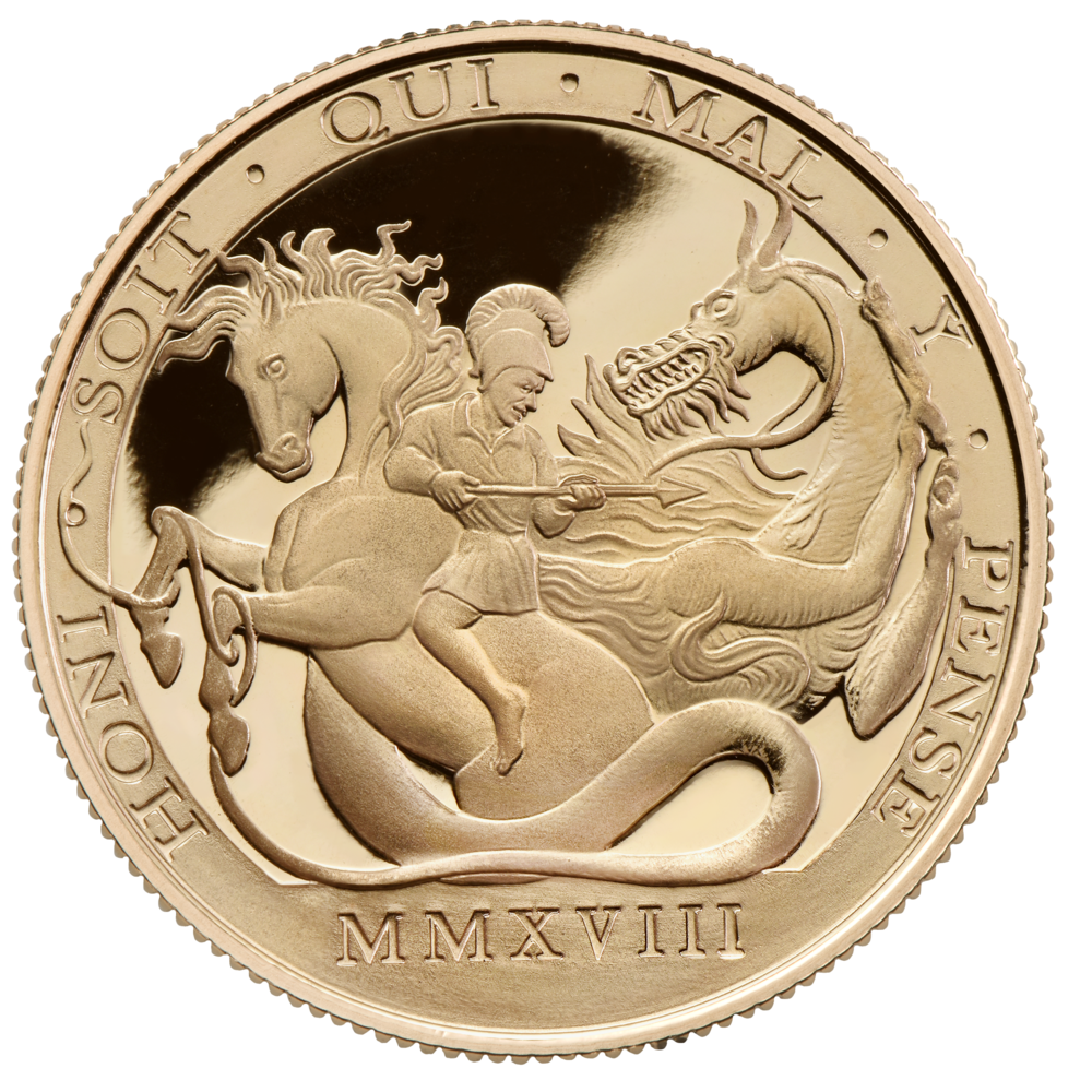 St George and Dragon Double Sovereign Reverse