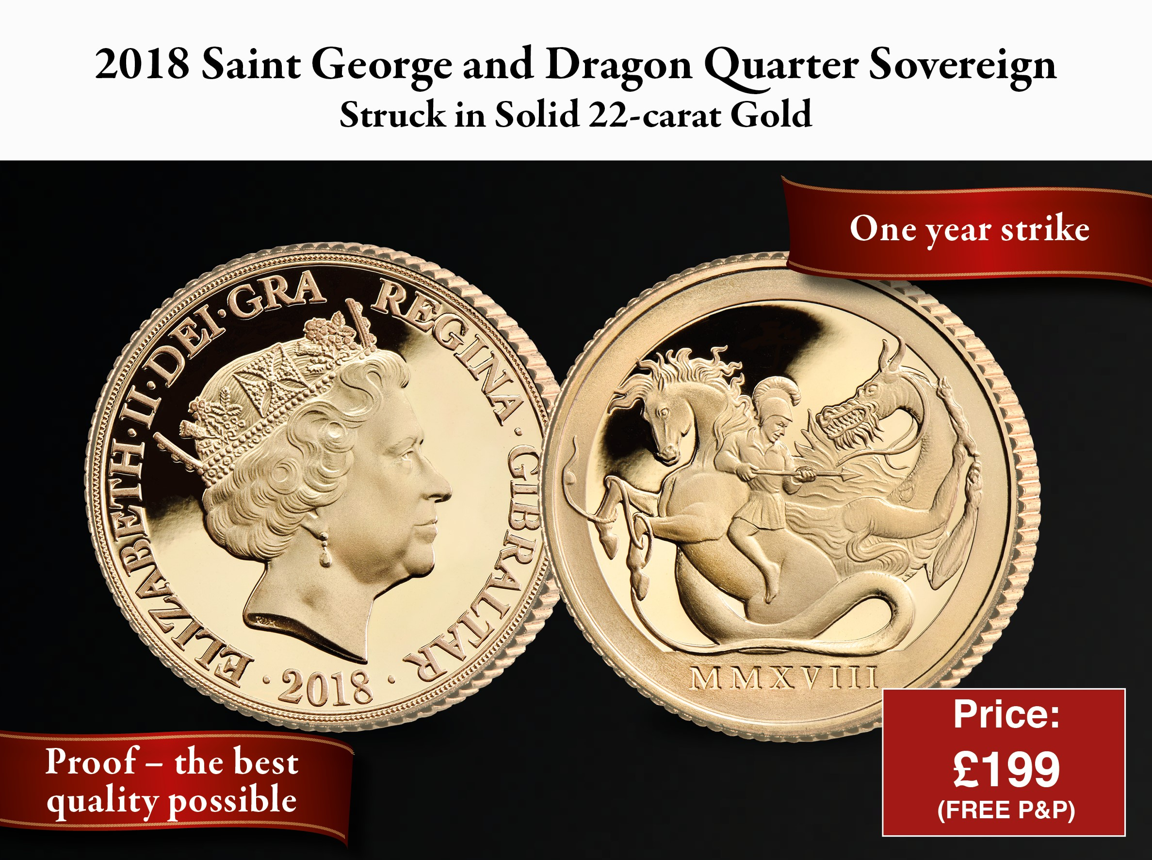 St George & The Dragon Quarter Sovereign 2018