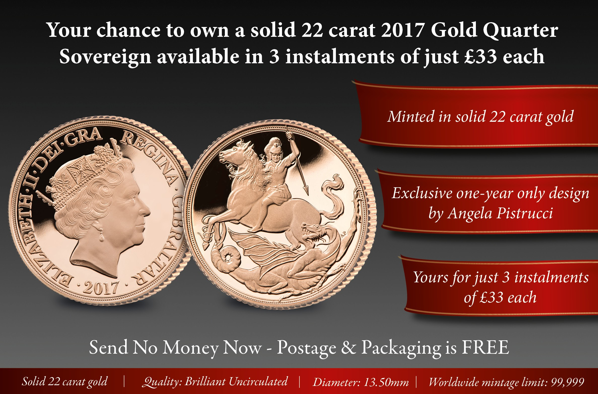 Your chance to own a solid 22 carat gold 2017 Quarter Sovereign