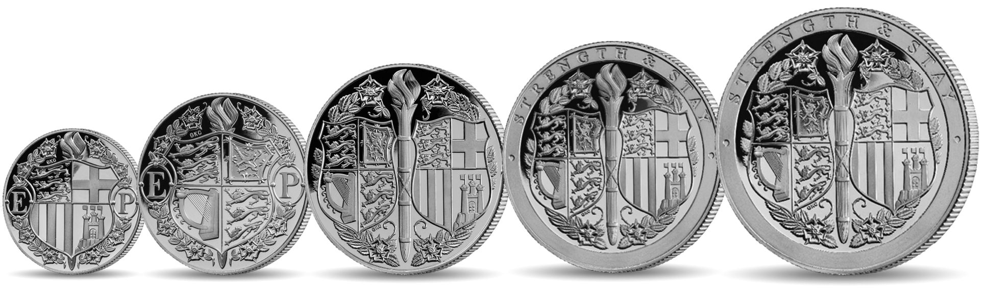5 coin set starting from a quarter sovereign up to a quintuple sovereign. All coins feature the coat of arms encircled by a garland of roses. The letters 'E' and 'P' appear in the 9 o'clock and 3 o'clock positions respectively throughout the set.
