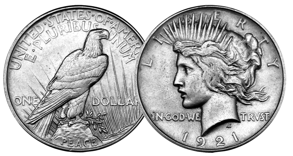 1921 High Relief Peace and 1921 Morgan Dollar