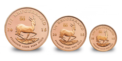 The 2016 Krugerrand Fractional Set with Queen's 90th birthday privy mark