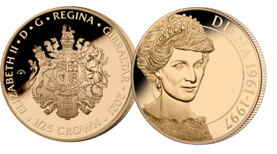 A 1/25 Crown depicting The English Rose - Diana, layered in exclusive Fairmined Rose Gold.