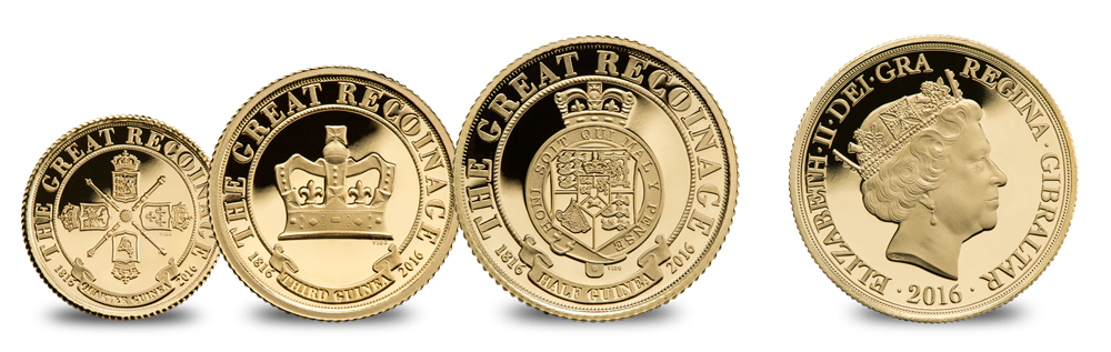 Great Recoinage Fractional Gold Guinea Complete Set