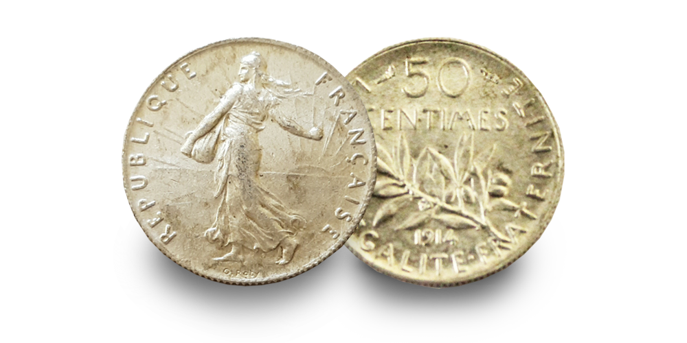World War One Silver Coin: 50 Centimes | London Mint Office