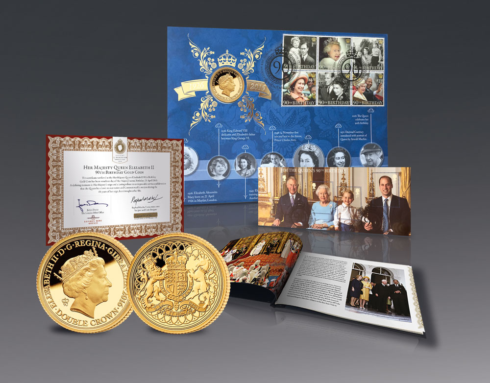 The Queen Elizabeth II 90th Birthday First Day Cover with solid gold coin