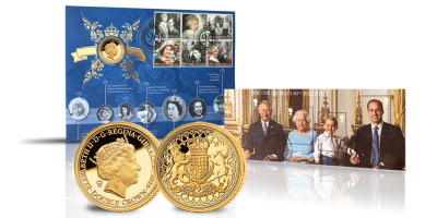 The Queen Elizabeth II 90th Birthday Solid Gold Coin & Stamp Cover