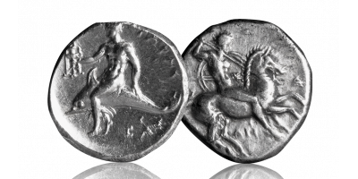 Silver Didrachm of the Ancient Spartan Colony of Taras