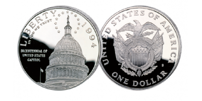 The United States Capitol 1994 Silver Proof Dollar