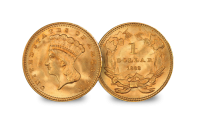 The $1 and $2.5  Gold Coins from the time of the Civil War 1861-1865 Indian Princess Large Head