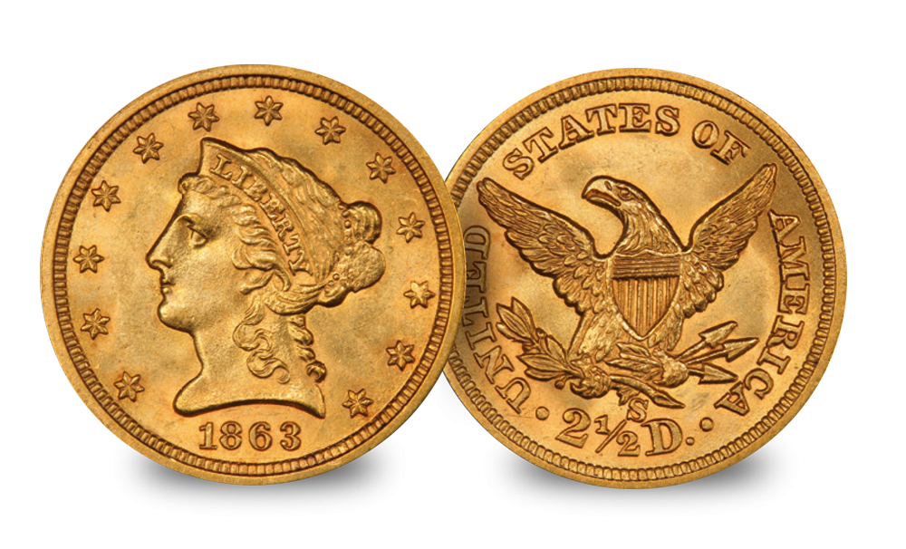The $1 and $2.5  Gold Coins from the time of the Civil War 1861-1865 Liberty Head