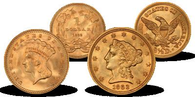 American Civil War Gold Coin Set 1861-1865