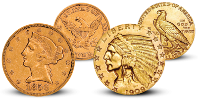 Liberty and Indian Head Half Eagle $5 Set